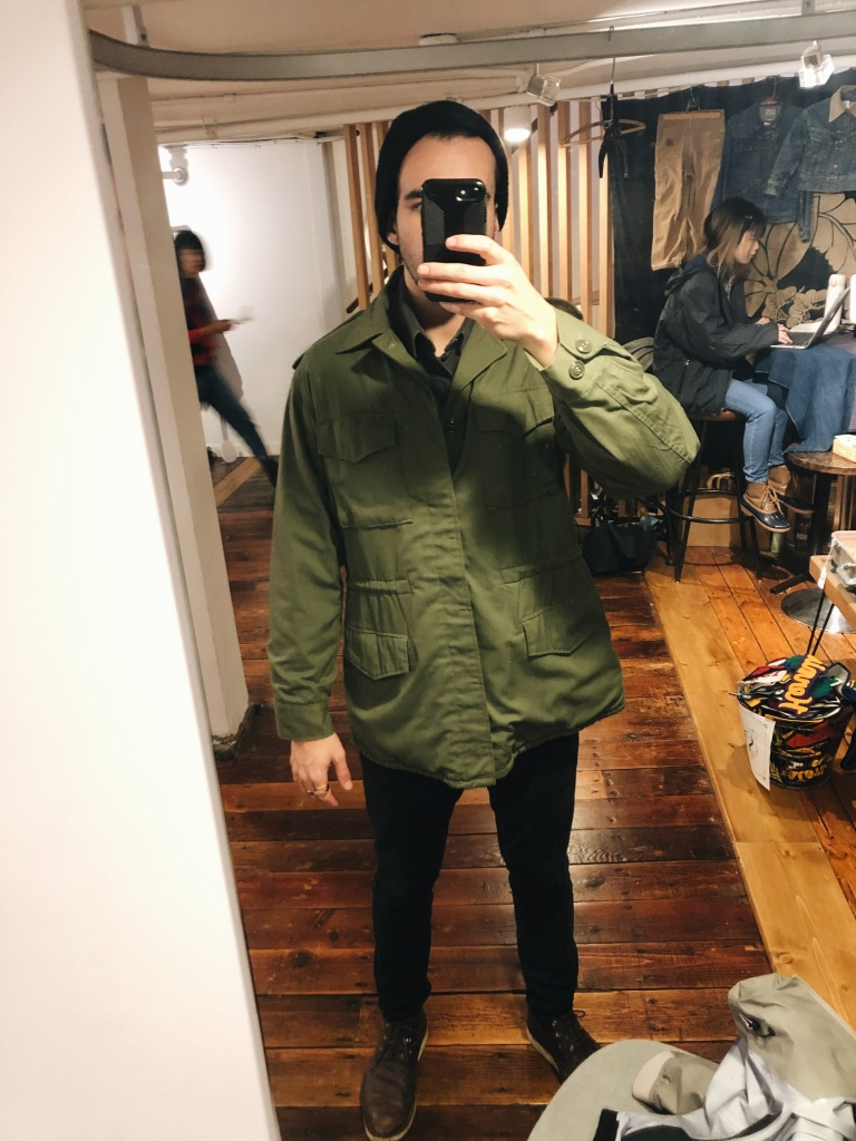 Wearing vintage Japanese army jacket